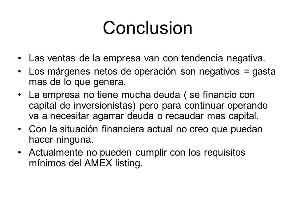 Conclusion Las ventas de la empresa van con tendencia negativa.