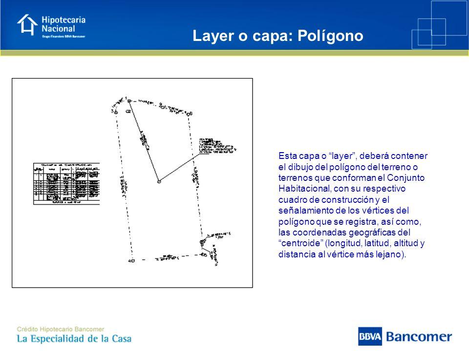 Esta capa o layer, deberá contener el dibujo del polígono del terreno o terrenos que conforman el Conjunto Habitacional, con su respectivo cuadro de c