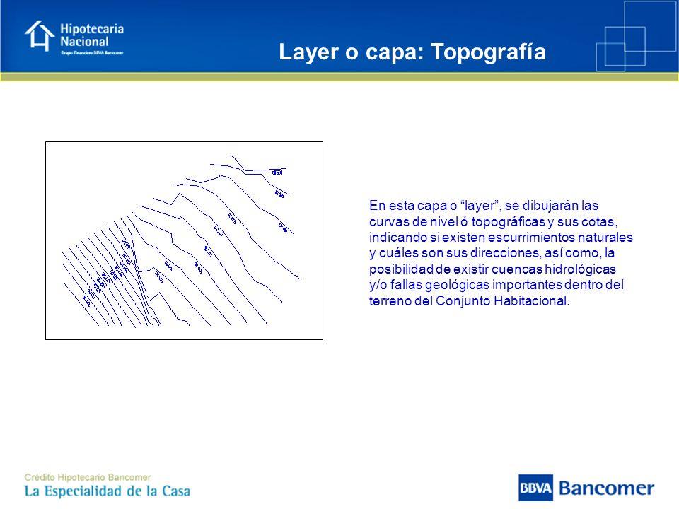 En esta capa o layer, se dibujarán las curvas de nivel ó topográficas y sus cotas, indicando si existen escurrimientos naturales y cuáles son sus dire