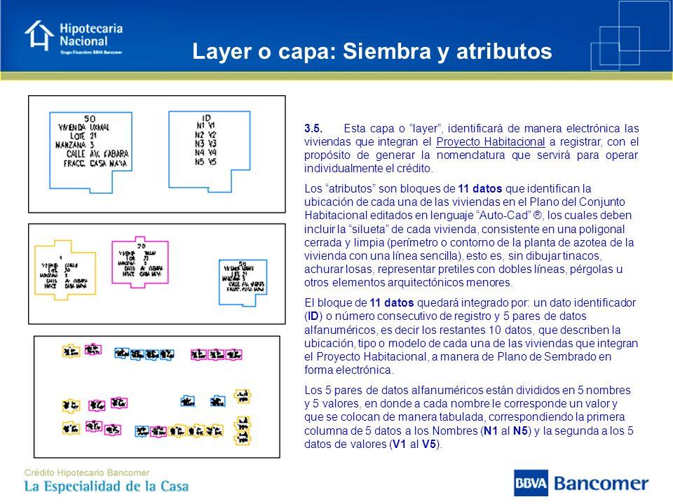 Layer o capa: Siembra y atributos 3.5. Esta capa o layer, identificará de manera electrónica las viviendas que integran el Proyecto Habitacional a reg
