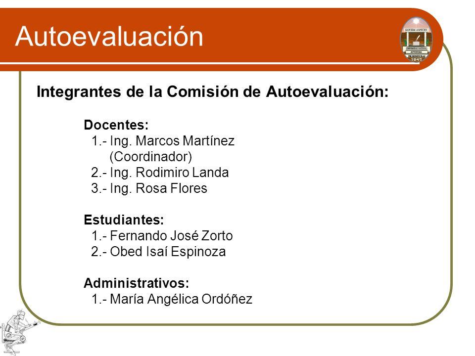 Autoevaluación Integrantes de la Comisión de Autoevaluación: Docentes: 1.- Ing. Marcos Martínez (Coordinador) 2.- Ing. Rodimiro Landa 3.- Ing. Rosa Fl