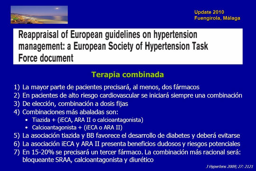 Update 2010 Fuengirola, Málaga Terapia combinada 1)La mayor parte de pacientes precisará, al menos, dos fármacos 2)En pacientes de alto riesgo cardiov