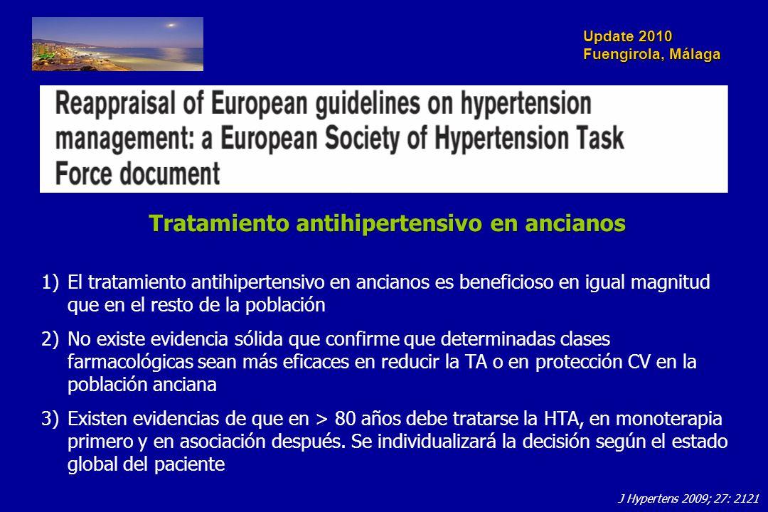 Update 2010 Fuengirola, Málaga Tratamiento antihipertensivo en ancianos 1)El tratamiento antihipertensivo en ancianos es beneficioso en igual magnitud