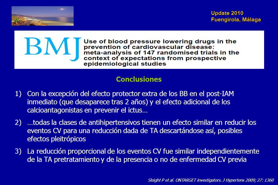 Update 2010 Fuengirola, Málaga Sleight P et al. ONTARGET investigators. J Hypertens 2009; 27: 1360 1)Con la excepción del efecto protector extra de lo