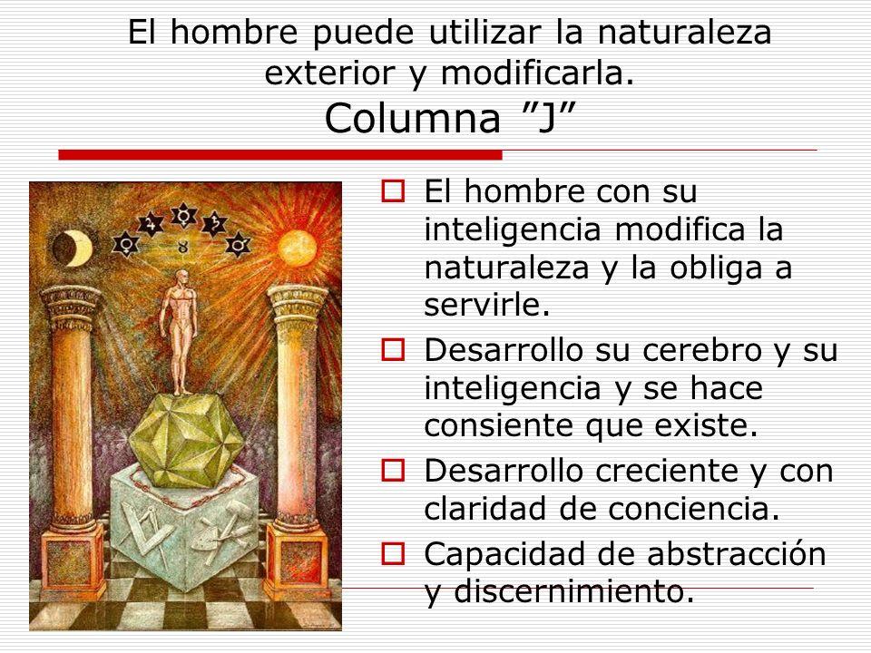 El hombre puede utilizar la naturaleza exterior y modificarla. Columna J El hombre con su inteligencia modifica la naturaleza y la obliga a servirle.
