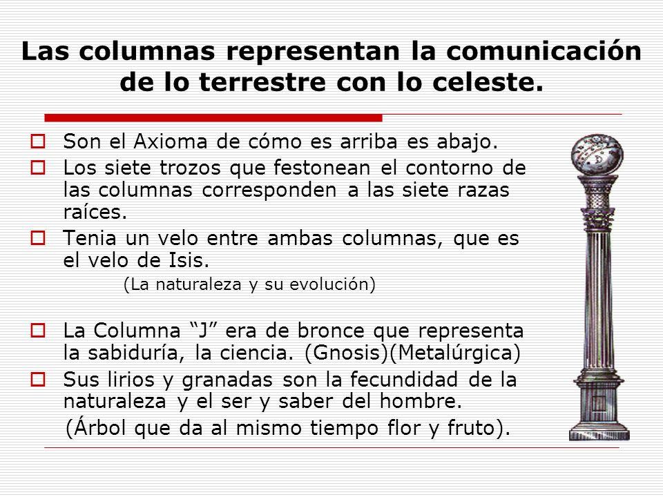 Las columnas representan la comunicación de lo terrestre con lo celeste. Son el Axioma de cómo es arriba es abajo. Los siete trozos que festonean el c