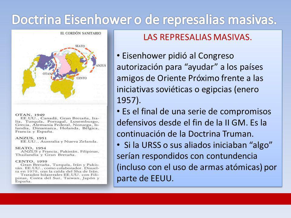 LAS REPRESALIAS MASIVAS. Eisenhower pidió al Congreso autorización para ayudar a los países amigos de Oriente Próximo frente a las iniciativas soviéti