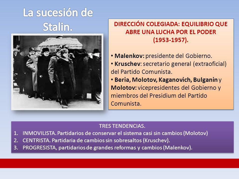 DIRECCIÓN COLEGIADA: EQUILIBRIO QUE ABRE UNA LUCHA POR EL PODER (1953-1957). Malenkov: presidente del Gobierno. Kruschev: secretario general (extraofi