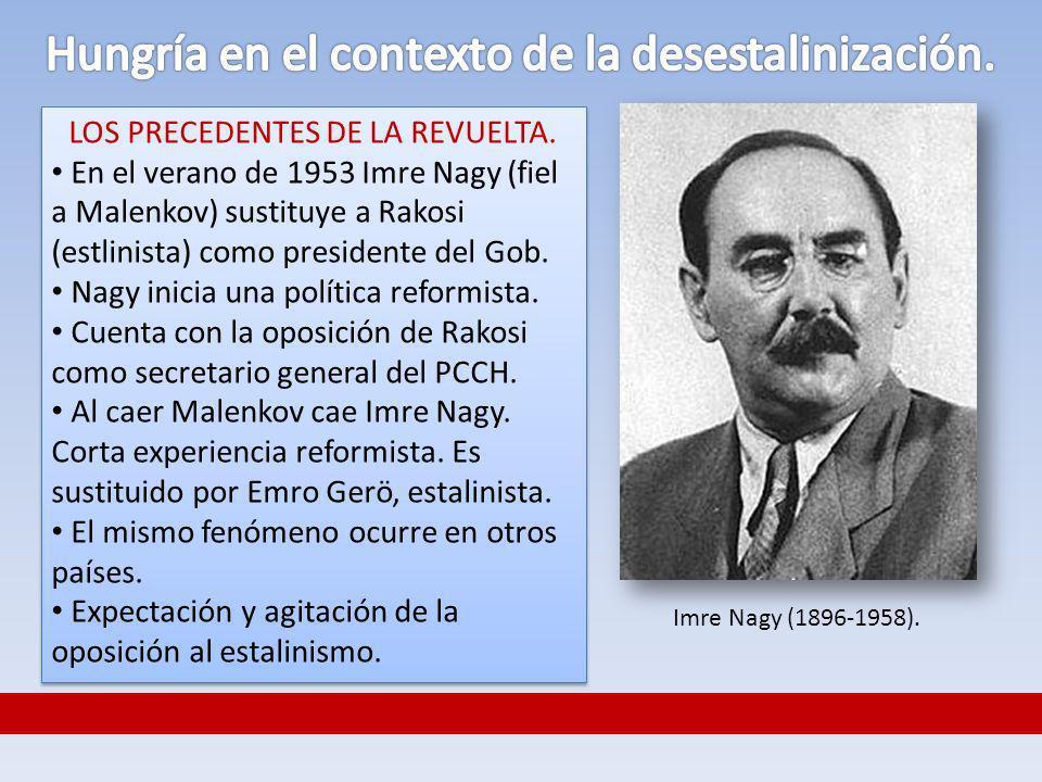 LOS PRECEDENTES DE LA REVUELTA. En el verano de 1953 Imre Nagy (fiel a Malenkov) sustituye a Rakosi (estlinista) como presidente del Gob. Nagy inicia