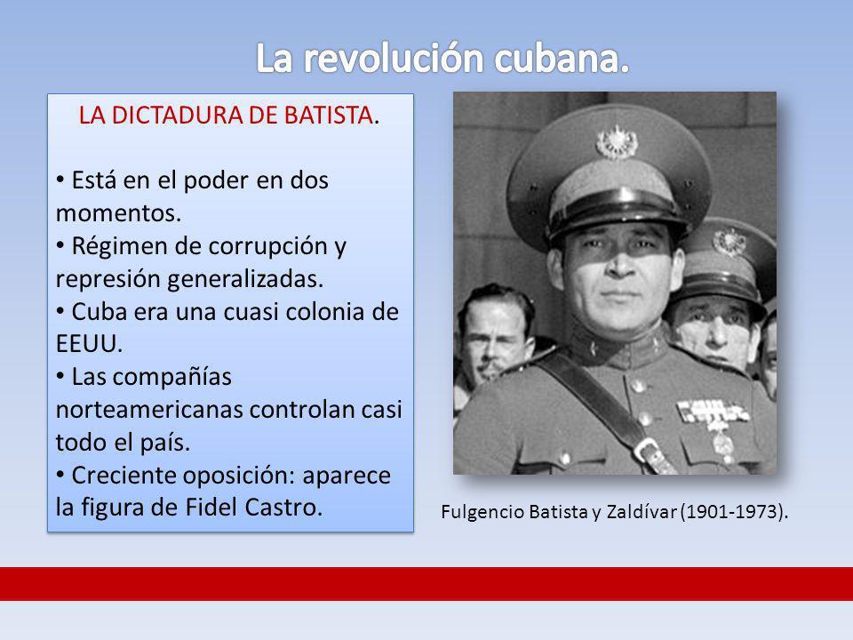 LA DICTADURA DE BATISTA. Está en el poder en dos momentos. Régimen de corrupción y represión generalizadas. Cuba era una cuasi colonia de EEUU. Las co