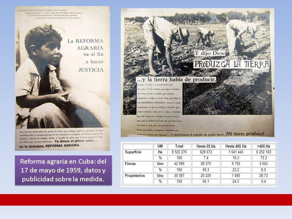 Reforma agraria en Cuba: del 17 de mayo de 1959, datos y publicidad sobre la medida.