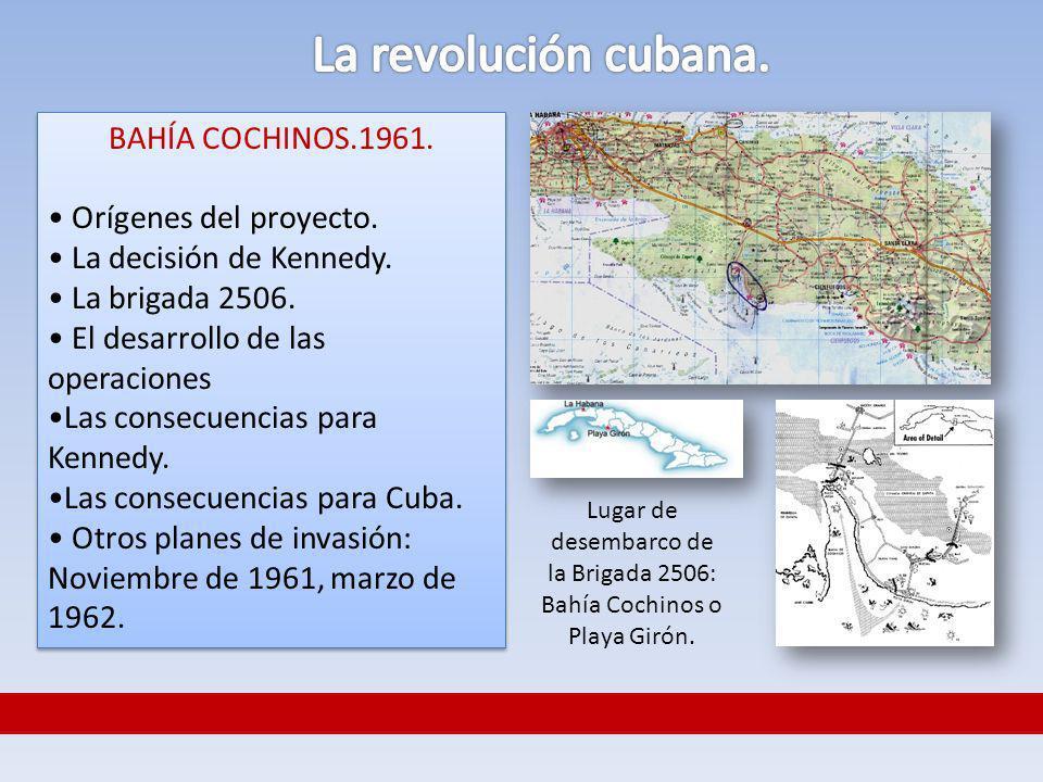 Lugar de desembarco de la Brigada 2506: Bahía Cochinos o Playa Girón. BAHÍA COCHINOS.1961. Orígenes del proyecto. La decisión de Kennedy. La brigada 2