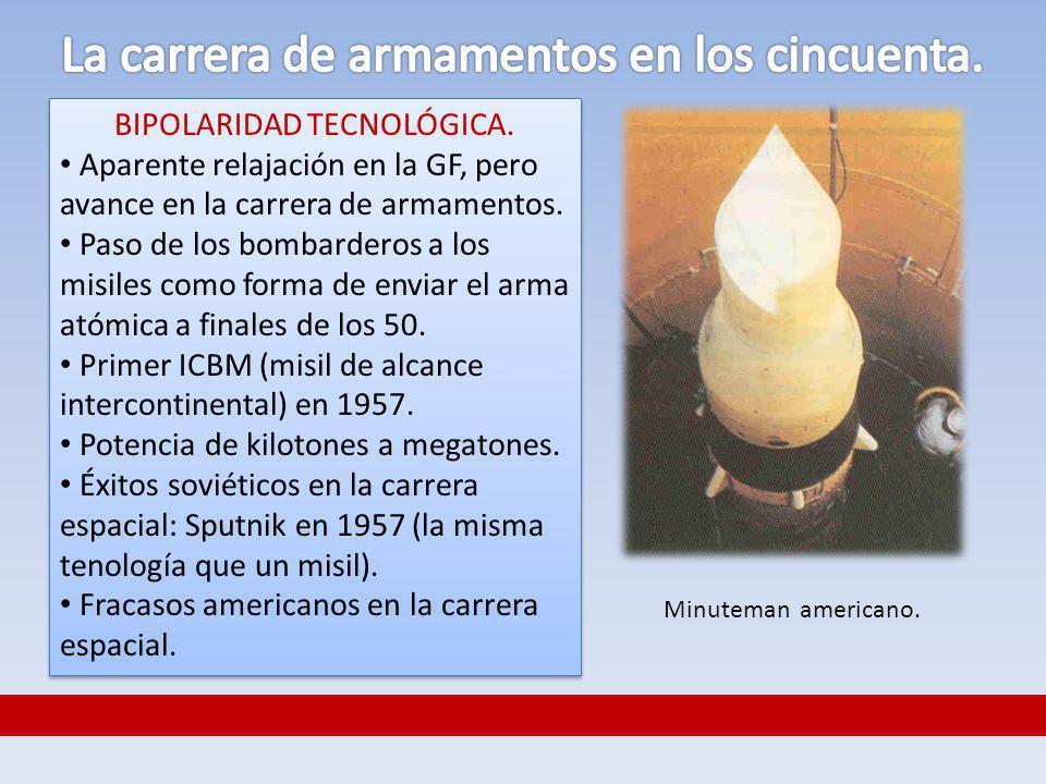 BIPOLARIDAD TECNOLÓGICA. Aparente relajación en la GF, pero avance en la carrera de armamentos. Paso de los bombarderos a los misiles como forma de en