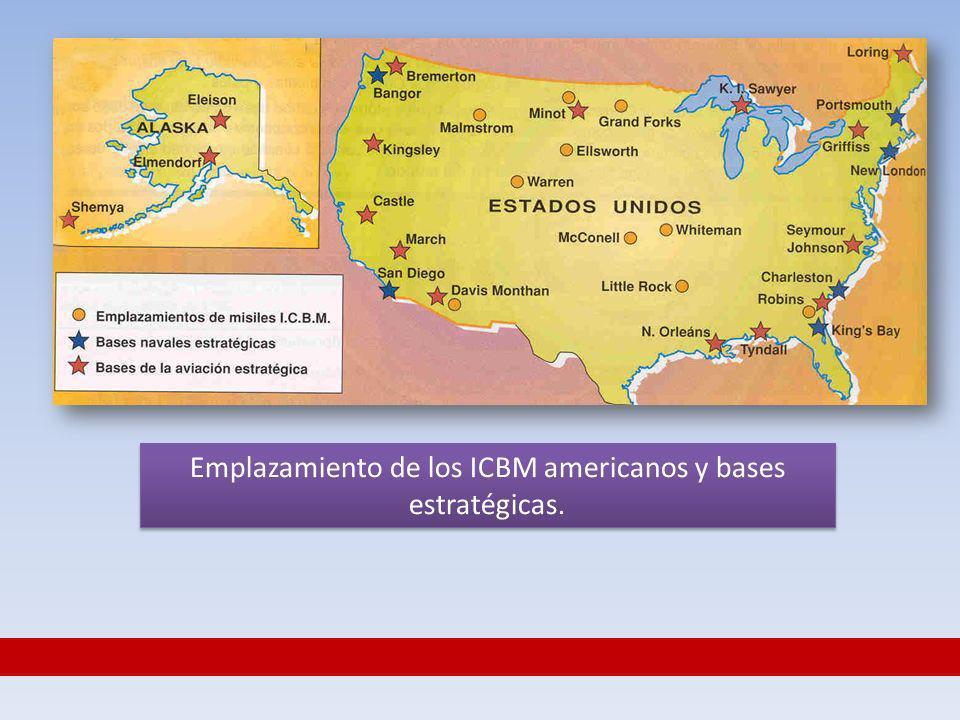 Emplazamiento de los ICBM americanos y bases estratégicas.