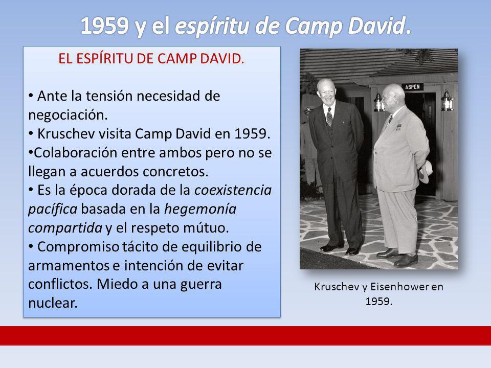 EL ESPÍRITU DE CAMP DAVID. Ante la tensión necesidad de negociación. Kruschev visita Camp David en 1959. Colaboración entre ambos pero no se llegan a