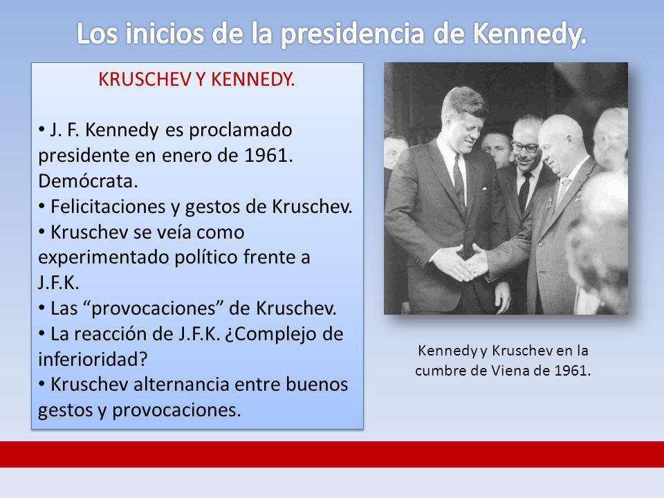 KRUSCHEV Y KENNEDY. J. F. Kennedy es proclamado presidente en enero de 1961. Demócrata. Felicitaciones y gestos de Kruschev. Kruschev se veía como exp