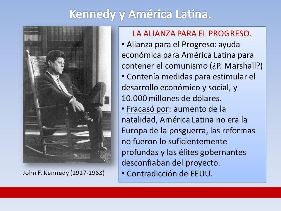 LA ALIANZA PARA EL PROGRESO. Alianza para el Progreso: ayuda económica para América Latina para contener el comunismo (¿P. Marshall?) Contenía medidas