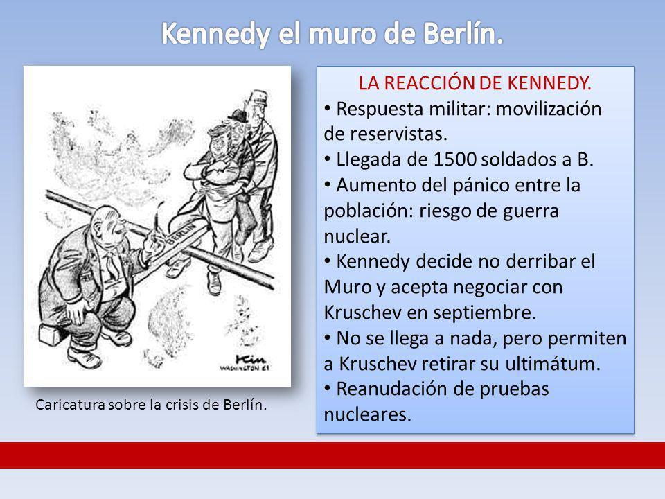 LA REACCIÓN DE KENNEDY. Respuesta militar: movilización de reservistas. Llegada de 1500 soldados a B. Aumento del pánico entre la población: riesgo de