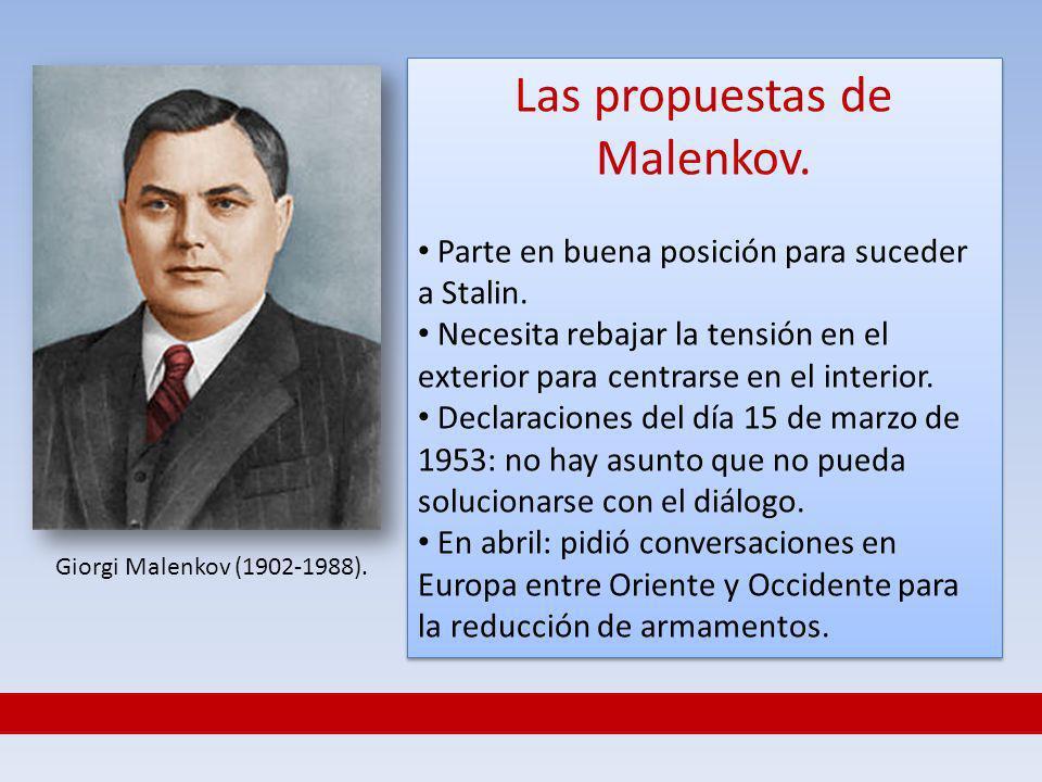 Las propuestas de Malenkov. Parte en buena posición para suceder a Stalin. Necesita rebajar la tensión en el exterior para centrarse en el interior. D