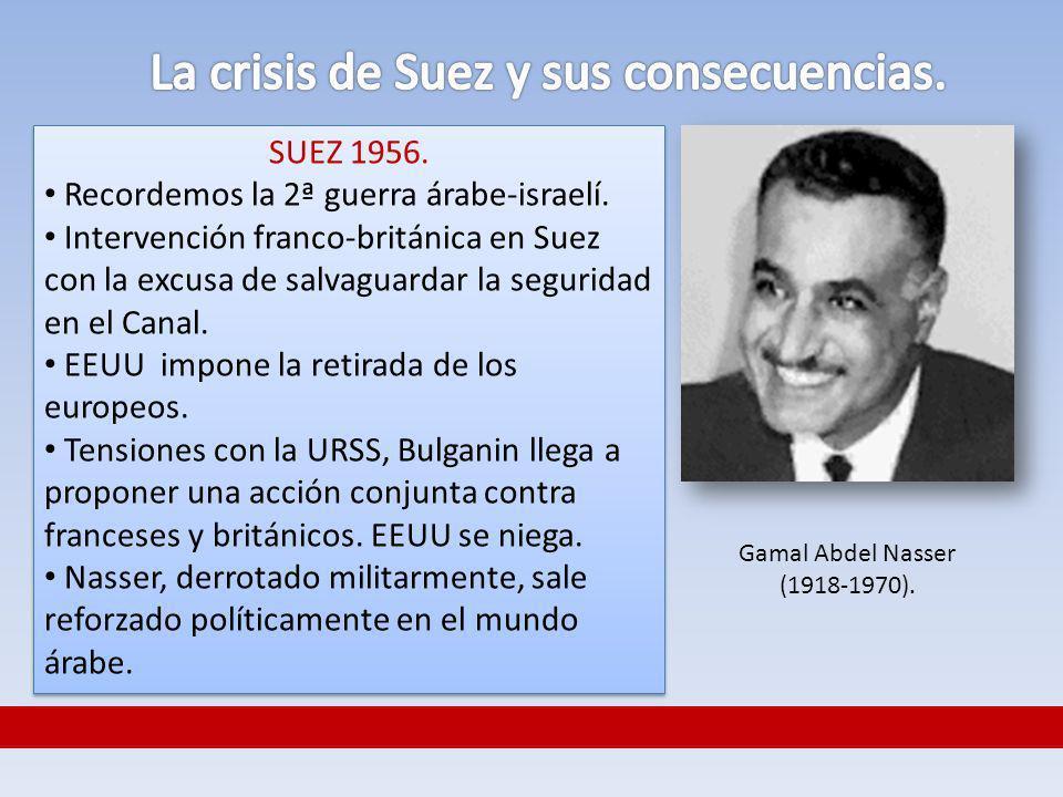 SUEZ 1956. Recordemos la 2ª guerra árabe-israelí. Intervención franco-británica en Suez con la excusa de salvaguardar la seguridad en el Canal. EEUU i
