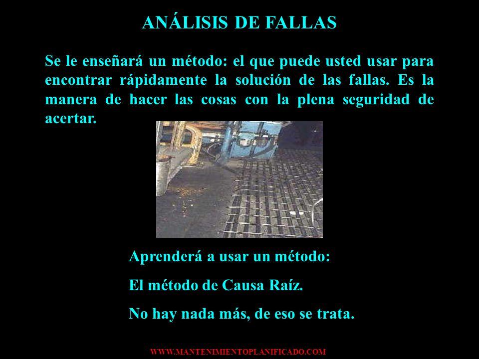 WWW.MANTENIMIENTOPLANIFICADO.COM ANÁLISIS DE FALLAS El análisis de fallas es un método basado en el sentido común y en su experiencia en su trabajo. E
