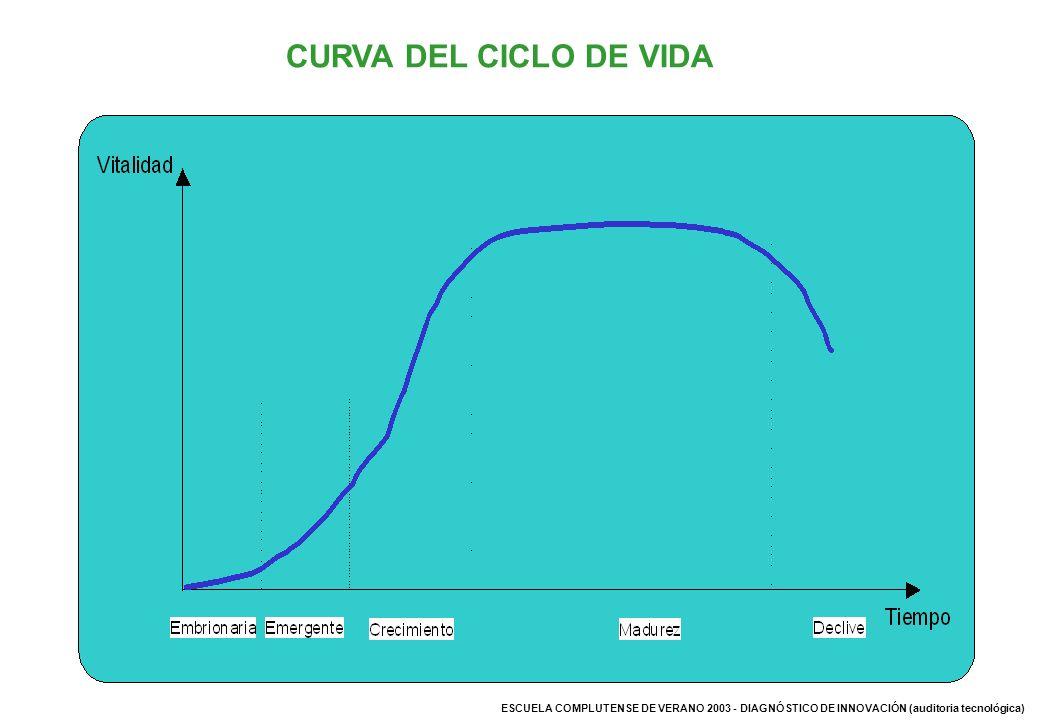 ESCUELA COMPLUTENSE DE VERANO 2003 - DIAGNÓSTICO DE INNOVACIÓN (auditoria tecnológica) CURVA DEL CICLO DE VIDA