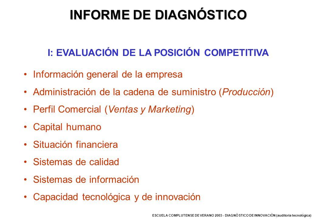 ESCUELA COMPLUTENSE DE VERANO 2003 - DIAGNÓSTICO DE INNOVACIÓN (auditoria tecnológica) Información general de la empresa Administración de la cadena d