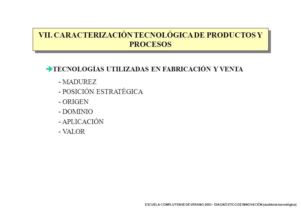 ESCUELA COMPLUTENSE DE VERANO 2003 - DIAGNÓSTICO DE INNOVACIÓN (auditoria tecnológica) VII. CARACTERIZACIÓN TECNOLÓGICA DE PRODUCTOS Y PROCESOS TECNOL