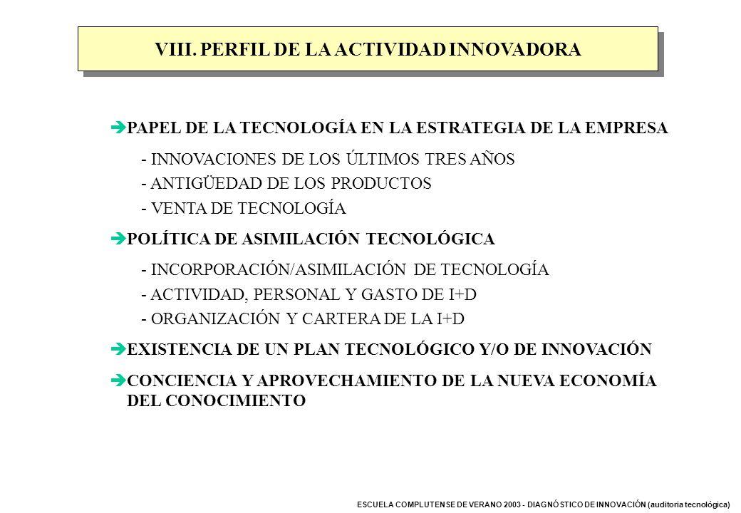 ESCUELA COMPLUTENSE DE VERANO 2003 - DIAGNÓSTICO DE INNOVACIÓN (auditoria tecnológica) VIII. PERFIL DE LA ACTIVIDAD INNOVADORA PAPEL DE LA TECNOLOGÍA