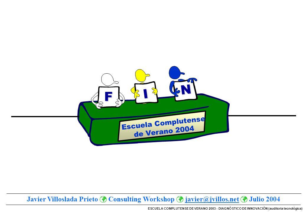 ESCUELA COMPLUTENSE DE VERANO 2003 - DIAGNÓSTICO DE INNOVACIÓN (auditoria tecnológica) Escuela Complutense de Verano 2004 F I N Javier Villoslada Prie