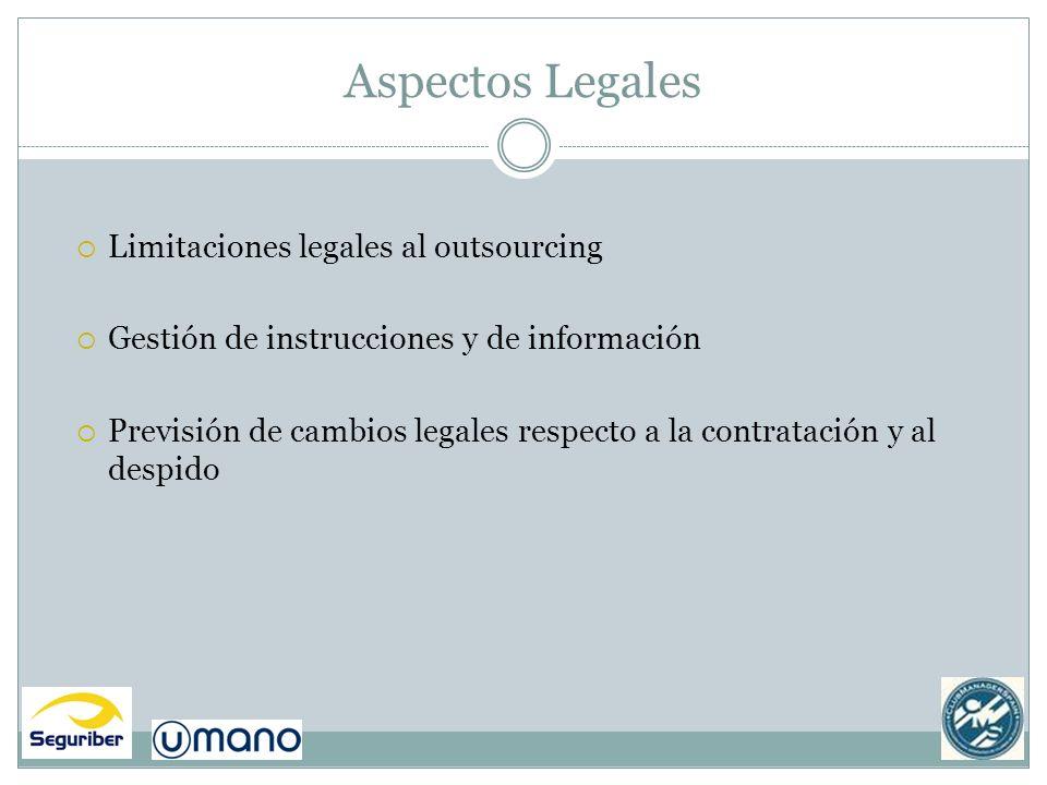 Aspectos Legales Limitaciones legales al outsourcing Gestión de instrucciones y de información Previsión de cambios legales respecto a la contratación
