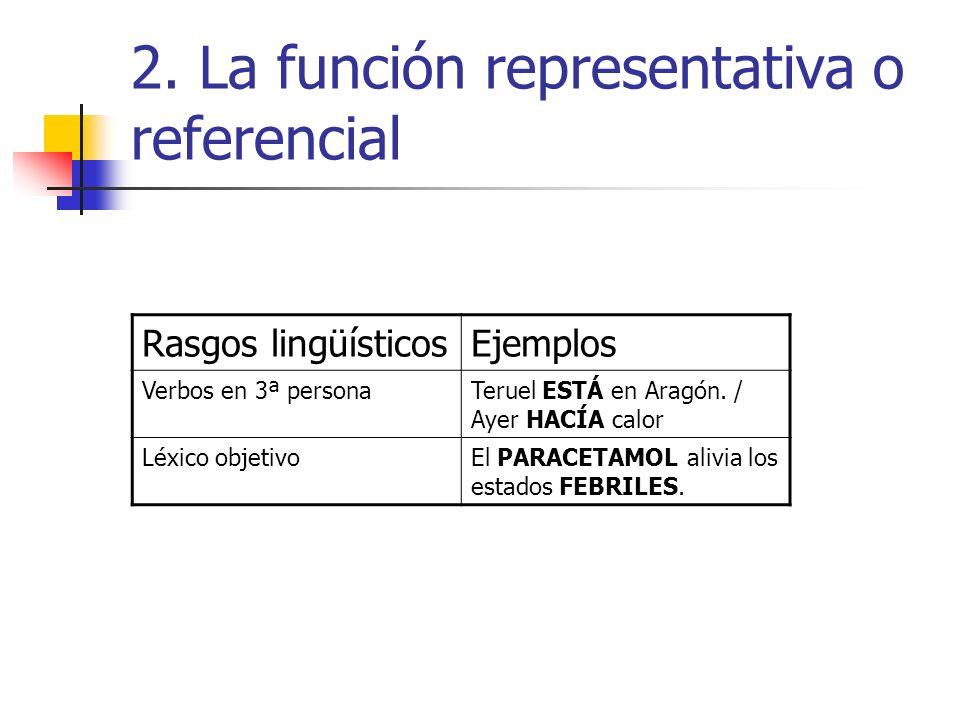 2. La función representativa o referencial Rasgos lingüísticosEjemplos Verbos en 3ª personaTeruel ESTÁ en Aragón. / Ayer HACÍA calor Léxico objetivoEl