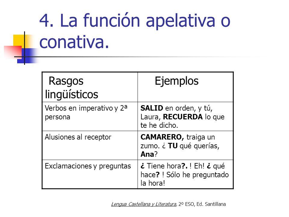 4. La función apelativa o conativa. Rasgos lingüísticos Ejemplos Verbos en imperativo y 2ª persona SALID en orden, y tú, Laura, RECUERDA lo que te he