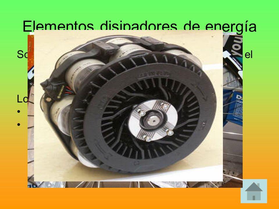 Elementos disipadores de energía Son los que tienen la misión de reducir o parar el movimiento de uno o varios elementos mecánicos cuando sea necesari