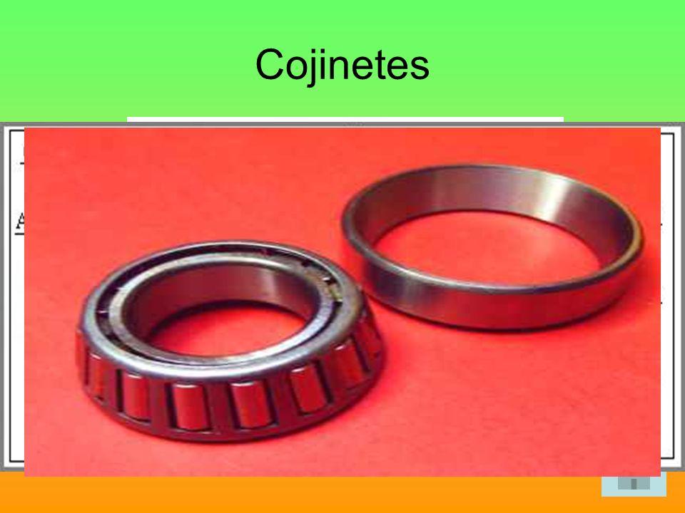 Cojinetes Son piezas cilíndricas que se colocan entre el apoyo de la máquina y el eje o árbol de transmisión de movimientos. Existen dos tipos: Cojine