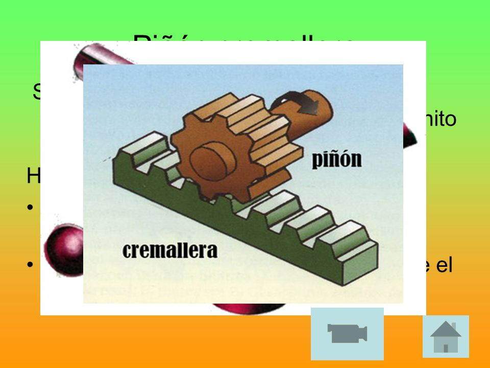 Piñón cremallera Se trata de un engranaje normal (piñón) que engrana con otro cuyo radio es infinito (cremallera). Hay 2 tipos de movimiento: El piñón