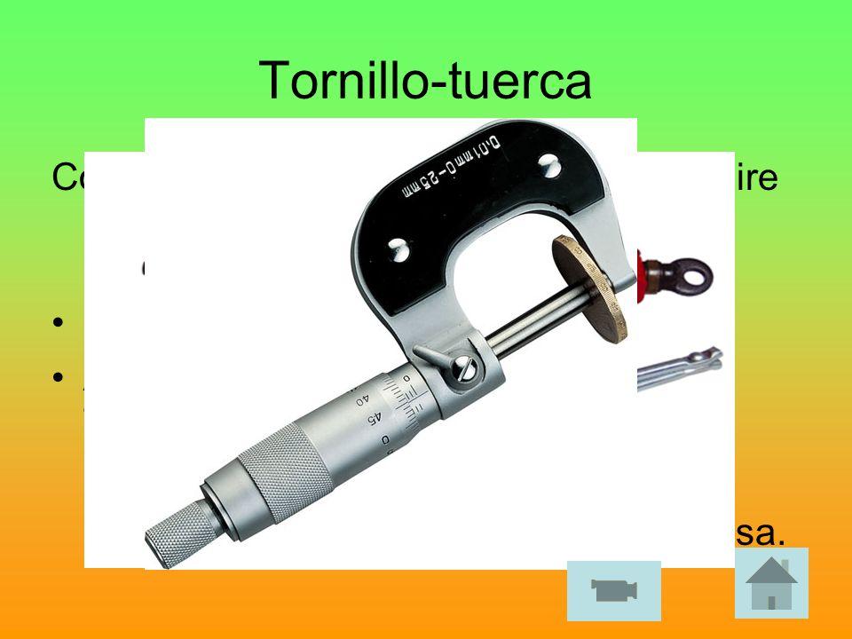 Tornillo-tuerca Consiste en girar el tornillo y evitar que gire la tuerca. De este modo la tuerca se desplaza longitudinalmente. Concepto de hélice. A
