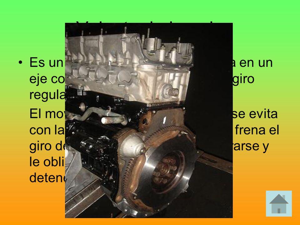 Volante de inercia Es un disco macizo, que se monta en un eje con la misión de garantizar un giro regular. El movimiento irregular de un eje se evita