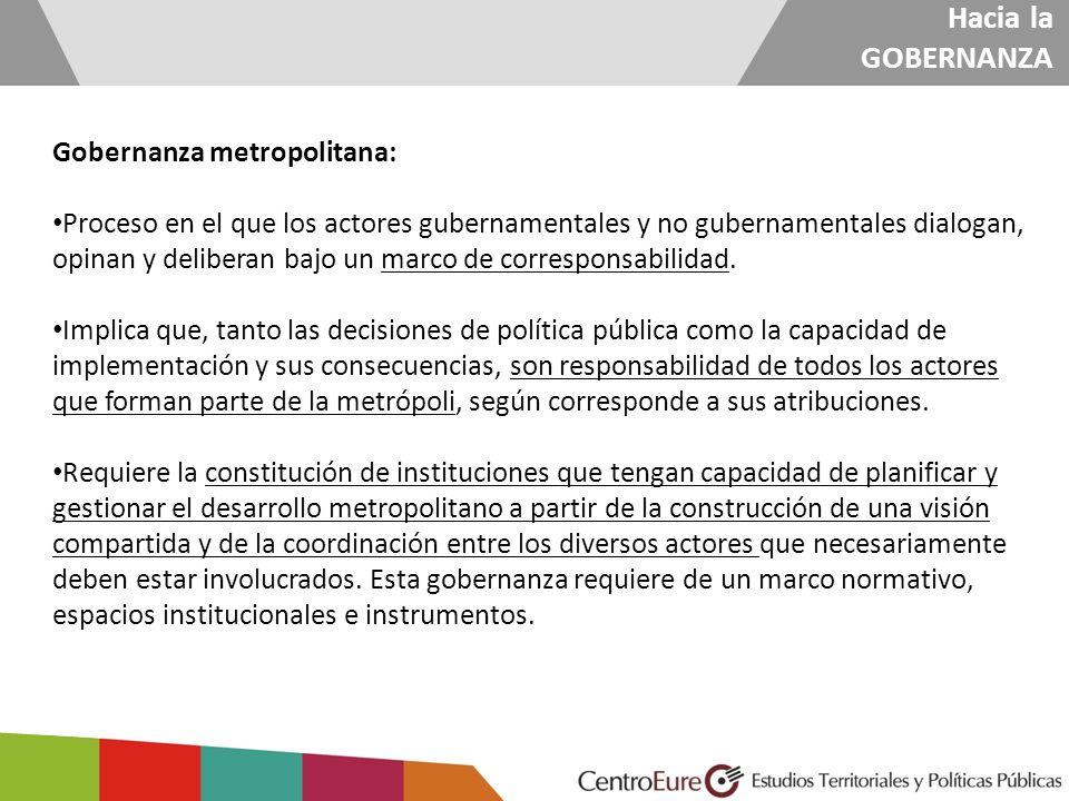 Hacia la GOBERNANZA Gobernanza metropolitana: Proceso en el que los actores gubernamentales y no gubernamentales dialogan, opinan y deliberan bajo un