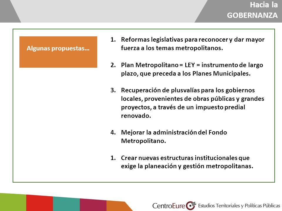 Algunas propuestas… 1.Reformas legislativas para reconocer y dar mayor fuerza a los temas metropolitanos. 2.Plan Metropolitano = LEY = instrumento de
