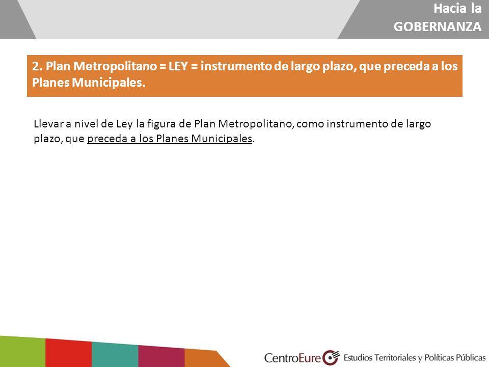 Hacia la GOBERNANZA 2. Plan Metropolitano = LEY = instrumento de largo plazo, que preceda a los Planes Municipales. Llevar a nivel de Ley la figura de