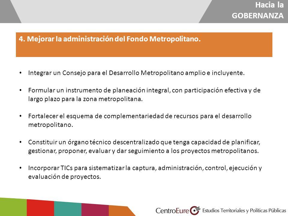 Hacia la GOBERNANZA 4. Mejorar la administración del Fondo Metropolitano. Integrar un Consejo para el Desarrollo Metropolitano amplio e incluyente. Fo
