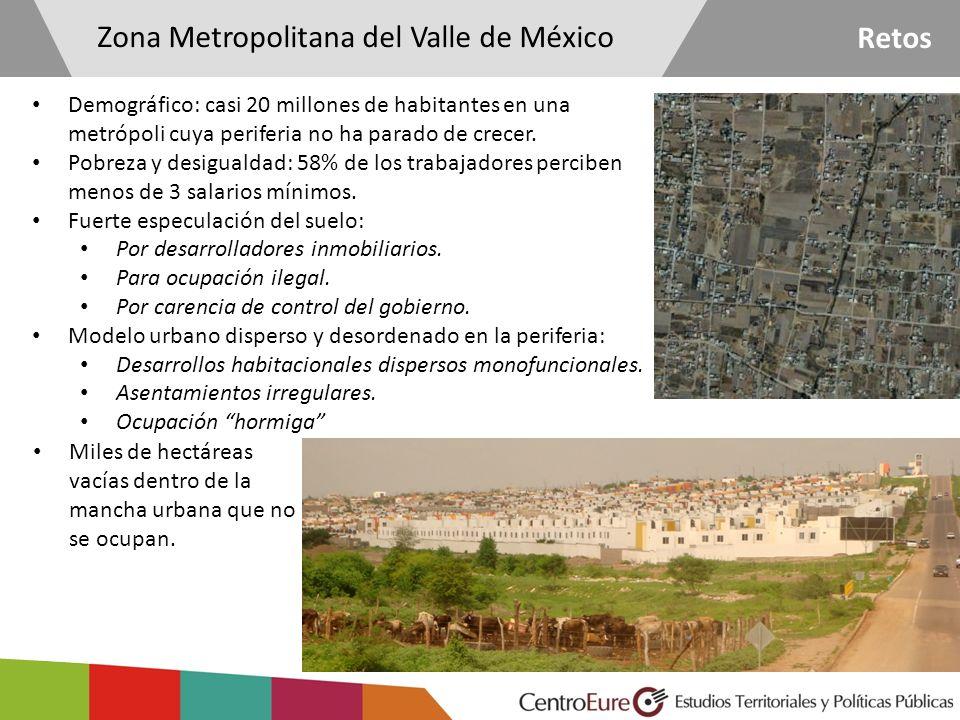 Retos Demográfico: casi 20 millones de habitantes en una metrópoli cuya periferia no ha parado de crecer. Pobreza y desigualdad: 58% de los trabajador