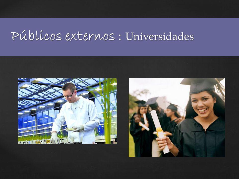 Públicos externos : Universidades