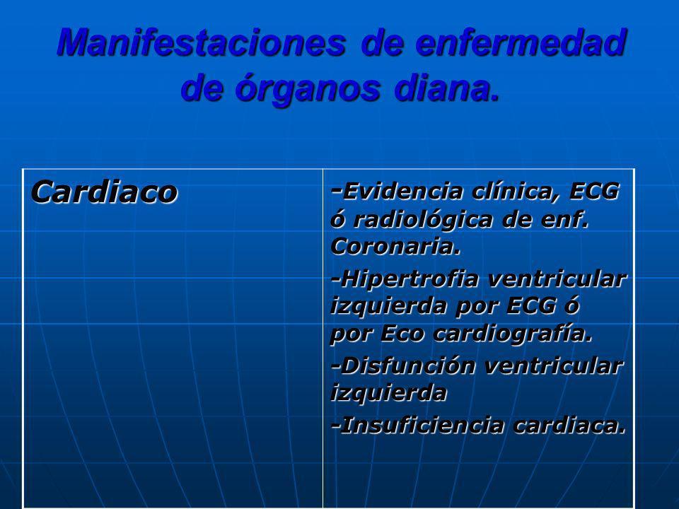 Manifestaciones de enfermedad de órganos diana. Cardiaco - Evidencia clínica, ECG ó radiológica de enf. Coronaria. -Hipertrofia ventricular izquierda