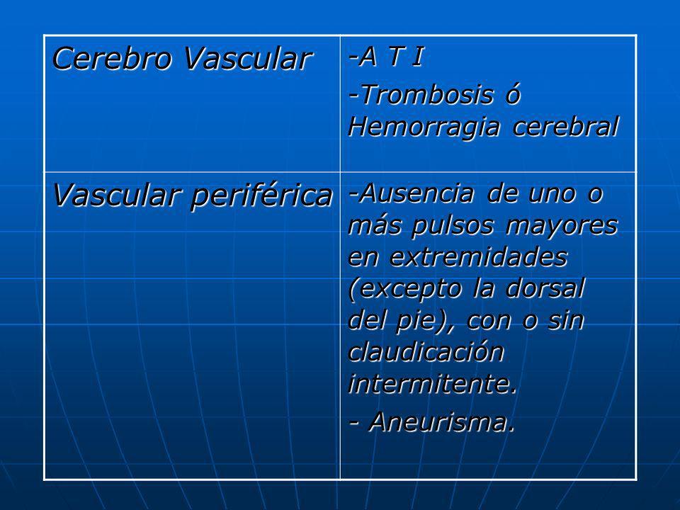 Cerebro Vascular -A T I -Trombosis ó Hemorragia cerebral Vascular periférica -Ausencia de uno o más pulsos mayores en extremidades (excepto la dorsal