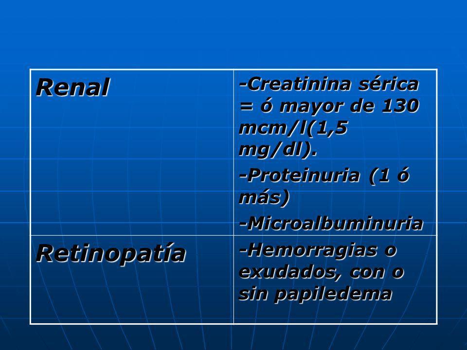 Renal -Creatinina sérica = ó mayor de 130 mcm/l(1,5 mg/dl). -Proteinuria (1 ó más) -Microalbuminuria Retinopatía -Hemorragias o exudados, con o sin pa