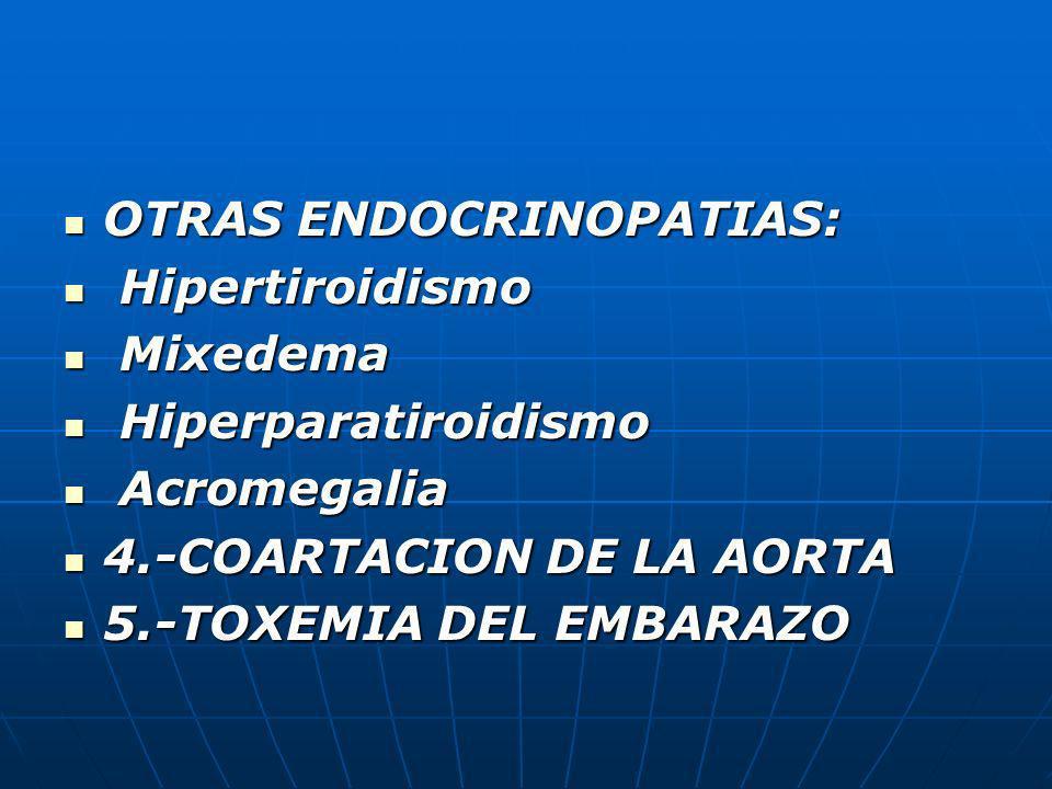 OTRAS ENDOCRINOPATIAS: OTRAS ENDOCRINOPATIAS: Hipertiroidismo Hipertiroidismo Mixedema Mixedema Hiperparatiroidismo Hiperparatiroidismo Acromegalia Ac
