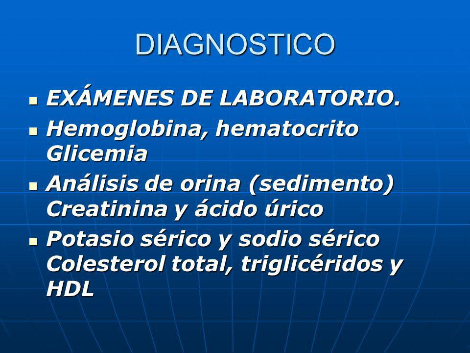 DIAGNOSTICO EXÁMENES DE LABORATORIO. EXÁMENES DE LABORATORIO. Hemoglobina, hematocrito Glicemia Hemoglobina, hematocrito Glicemia Análisis de orina (s