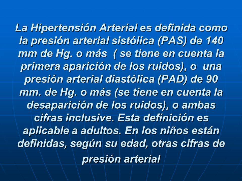 La Hipertensión Arterial es definida como la presión arterial sistólica (PAS) de 140 mm de Hg. o más ( se tiene en cuenta la primera aparición de los